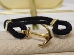 BLACK ROPE BRACELET WITH ANCHOR CLASP