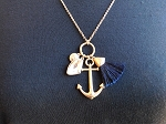 ANCHOR AND BLACK TASSEL PENDANT
