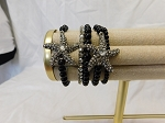 BLACK AND SILVER BEAD STRETCH BRACELET WITH STARFISH