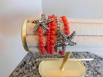 CORAL BEAD STRETCH BRACELET WITH CRYSTAL STARFISH