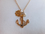 GOLD ANCHOR PENDANT SET WITH PEARL ACCENT