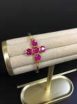 FUCHSIA CRYSTAL CROSS BANGLE