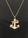 LARGE GOLD ANCHOR CRYSTAL PENDANT