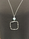 SQUARE WIRE WRAPPED PENDANT W/ TURQUOISE BEAD
