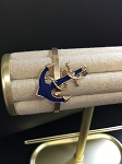NAVY AND GOLD ANCHOR CUFF BRACELET