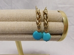 TURQUOISE BEAD AND GOLD CHAIN EARRINGS