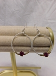 SILVER HOOP EARRING WITH DEEP FUCHSIA STONE