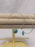 SILVER HOOP EARRING WITH TURQUOISE STONE